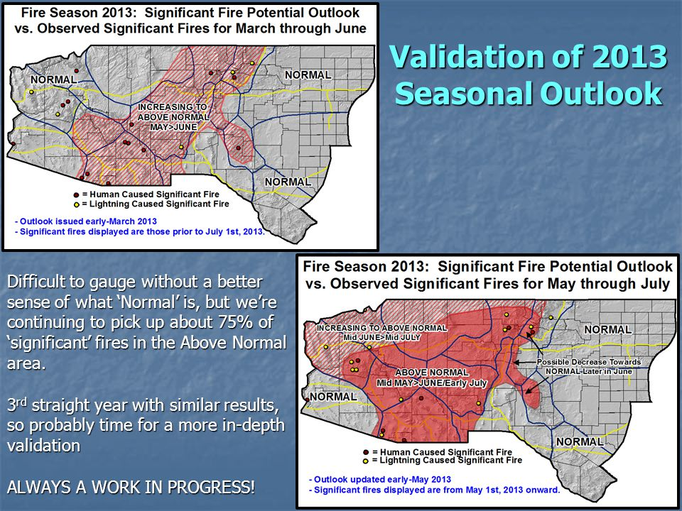Difficult to gauge without a better sense of what Normal is, but were continuing to pick up about 75% of significant fires in the Above Normal area. 3