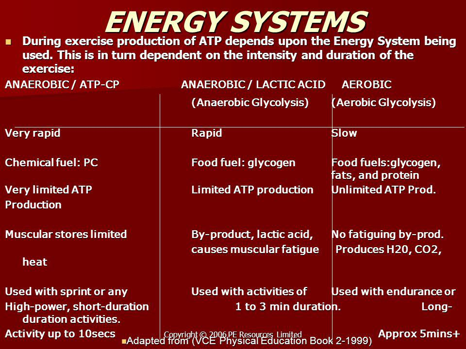 Copyright © 2006 PE Resources Limited ENERGY SYSTEMS During exercise production of ATP depends upon the Energy System being used. This is in turn depe