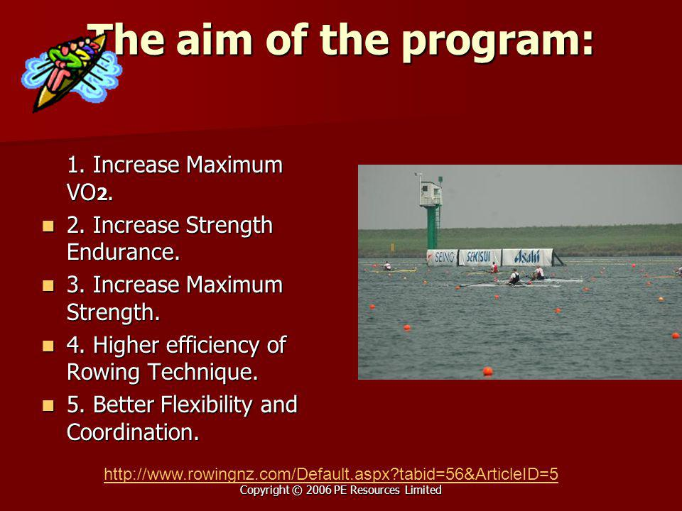 Copyright © 2006 PE Resources Limited The aim of the program: 1. Increase Maximum VO 2. 2. Increase Strength Endurance. 2. Increase Strength Endurance