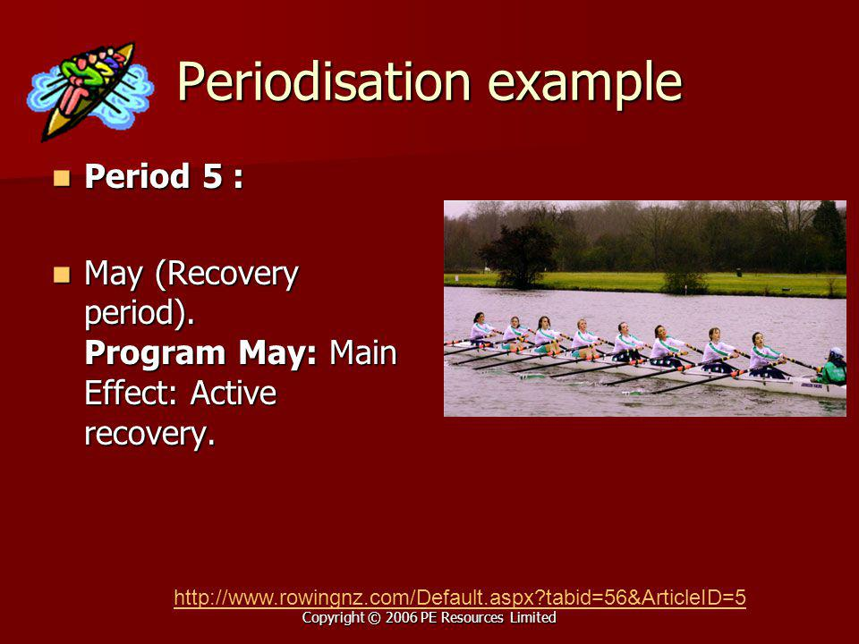 Copyright © 2006 PE Resources Limited Periodisation example Period 5 : Period 5 : May (Recovery period). Program May: Main Effect: Active recovery. Ma