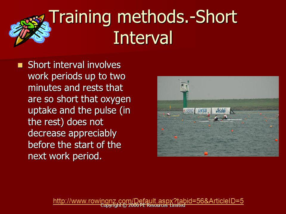 Copyright © 2006 PE Resources Limited Training methods.-Short Interval Short interval involves work periods up to two minutes and rests that are so sh