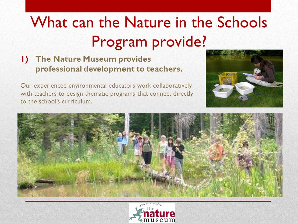 2)Nature Museum naturalists offer educational services directly to students.
