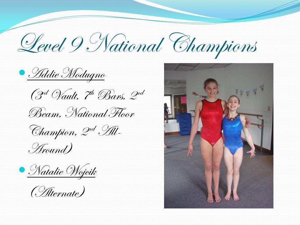 Level 9 National Champions Addie Modugno (3 rd Vault, 7 th Bars, 2 nd Beam, National Floor Champion, 2 nd All- Around) Natalie Wojcik (Alternate)