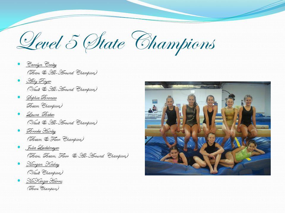 Level 5 State Champions Carolyn Cooley (Bars & All-Around Champion) Abby Royer (Vault & All-Around Champion) Sophia Bronico Beam Champion) Laura Baker
