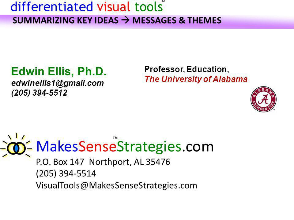 MakesSenseStrategies.com P.O. Box 147 Northport, AL 35476 (205) 394-5514 VisualTools@MakesSenseStrategies.com TM Edwin Ellis, Ph.D. edwinellis1@gmail.