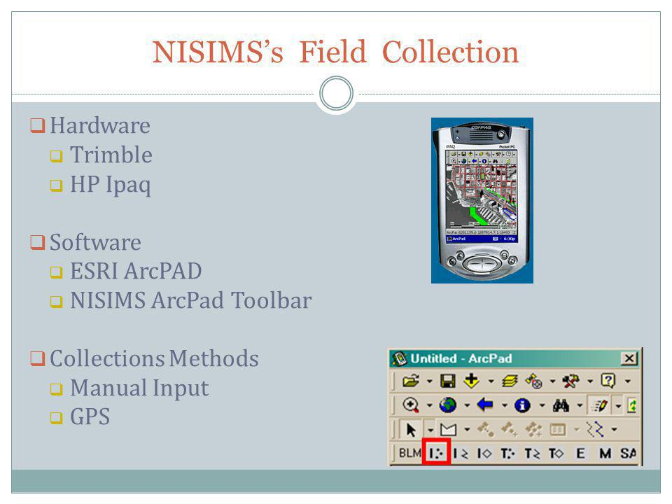 NISIMSs Field Collection Hardware Trimble HP Ipaq Software ESRI ArcPAD NISIMS ArcPad Toolbar Collections Methods Manual Input GPS