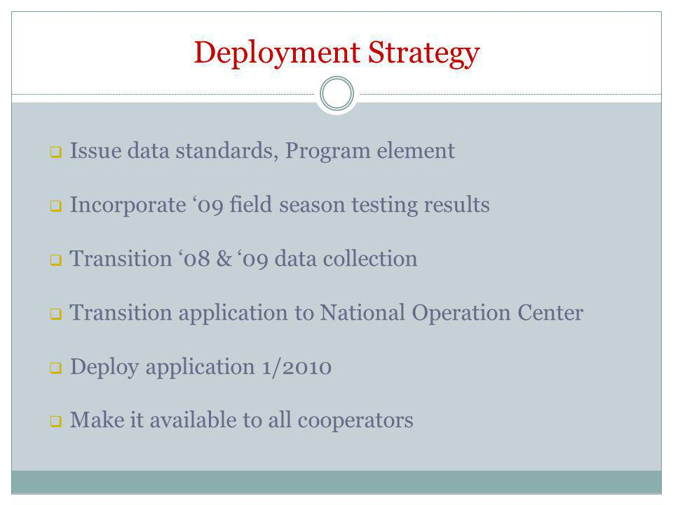 Deployment Strategy Issue data standards, Program element Incorporate 09 field season testing results Transition 08 & 09 data collection Transition application to National Operation Center Deploy application 1/2010 Make it available to all cooperators