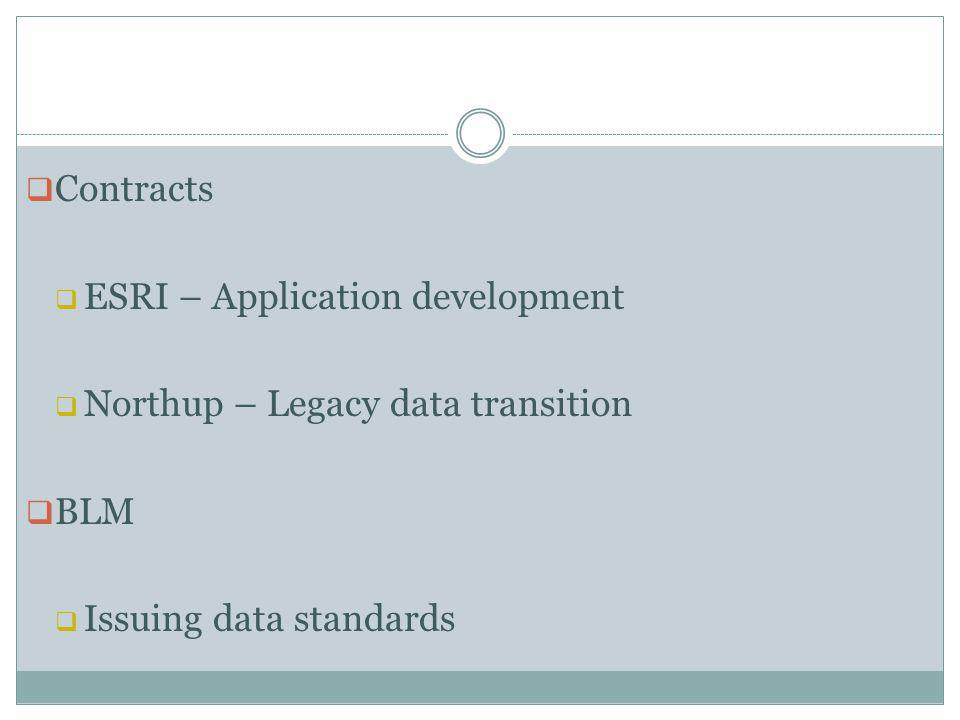 Contracts ESRI – Application development Northup – Legacy data transition BLM Issuing data standards
