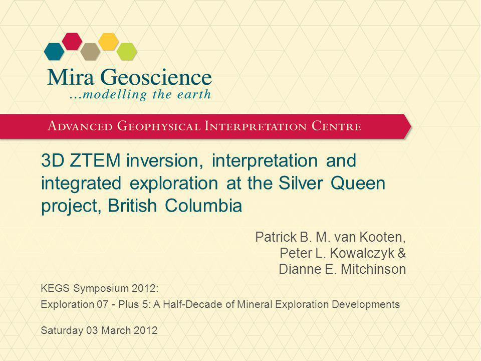 Acknowledgements For granting permission to show select results from the Silver Queen Project, sincere thanks are due to: Ellen Clements (Director, President & CEO) New Nadina Explorations Ltd.