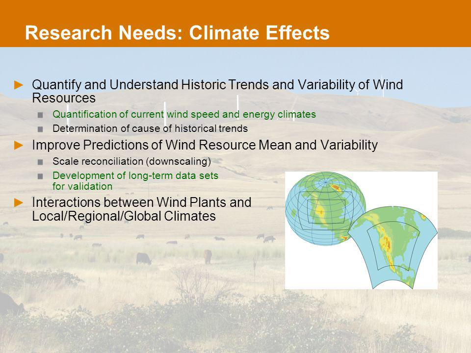 Research Needs: Climate Effects Quantify and Understand Historic Trends and Variability of Wind Resources Quantification of current wind speed and energy climates Determination of cause of historical trends Improve Predictions of Wind Resource Mean and Variability Scale reconciliation (downscaling) Development of long-term data sets for validation Interactions between Wind Plants and Local/Regional/Global Climates