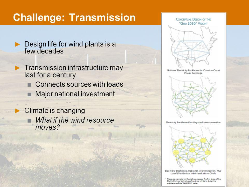 Challenge: Transmission Design life for wind plants is a few decades Transmission infrastructure may last for a century Connects sources with loads Major national investment Climate is changing What if the wind resource moves