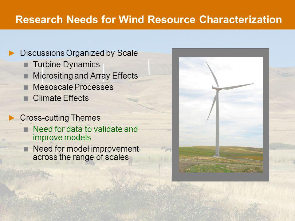 Research Needs: Turbine Dynamics Accurate Models for Isolated Turbine Inflow Shear (e.g., Low-level jets) Turbulence details Models for Wake-Turbine Interaction Solvers to span DNS/LES/DES/RANS hierarchy Novel measurements for inflow and blade and wake flow Characterization of Extreme and Anomalous Inflow Events Improved databases from representative locales Improved ability to model in arbitrary environments (Kelley, et al.