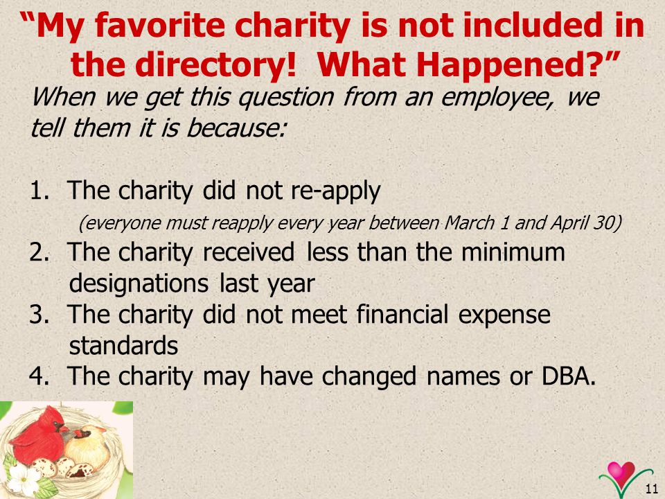 11 My favorite charity is not included in the directory! What Happened? When we get this question from an employee, we tell them it is because: 1. The