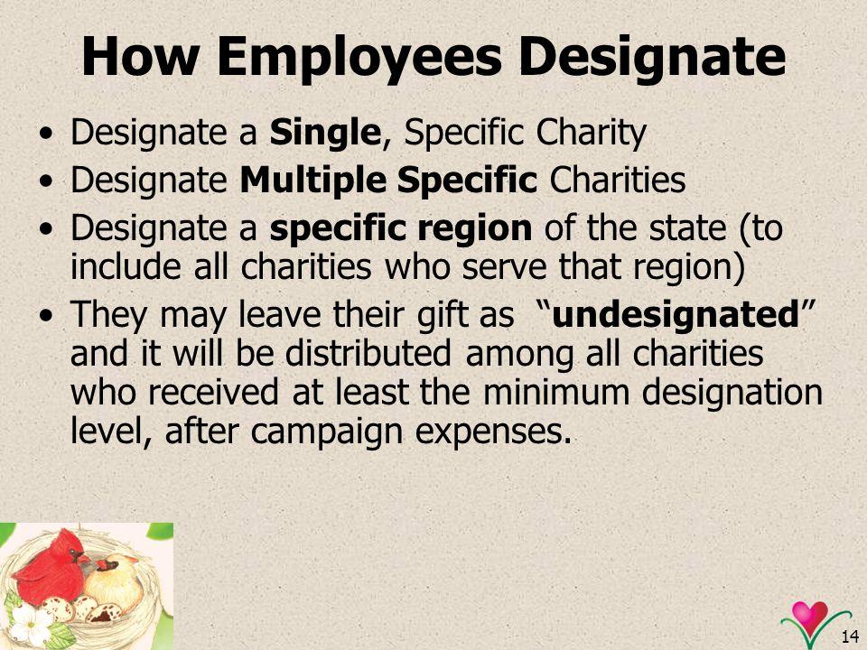14 How Employees Designate Designate a Single, Specific Charity Designate Multiple Specific Charities Designate a specific region of the state (to inc