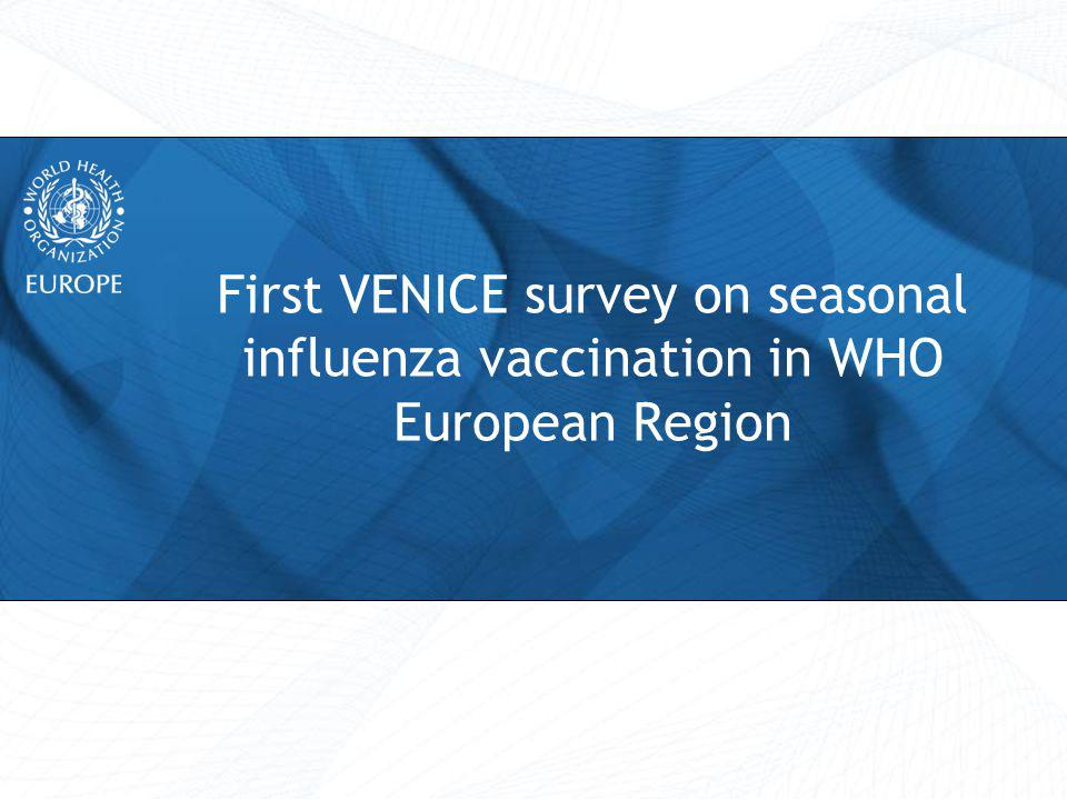 Aims and objectives Aim To assess progress toward the WHO goal of 75% influenza vaccine coverage in elderly by 2010 Specific objectives Identify country specific vaccine recommendations Describe influenza vaccine coverage in 2008/2009 and 2009/2010 Describe influenza vaccination implementation Provide a baseline from which to measure future improvements in seasonal influenza vaccine uptake