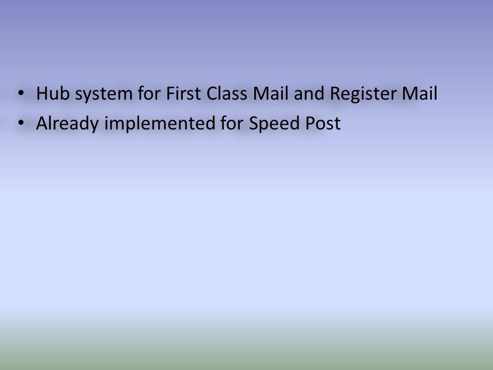 Hub system for First Class Mail and Register Mail Already implemented for Speed Post Hub system for First Class Mail and Register Mail Already implemented for Speed Post