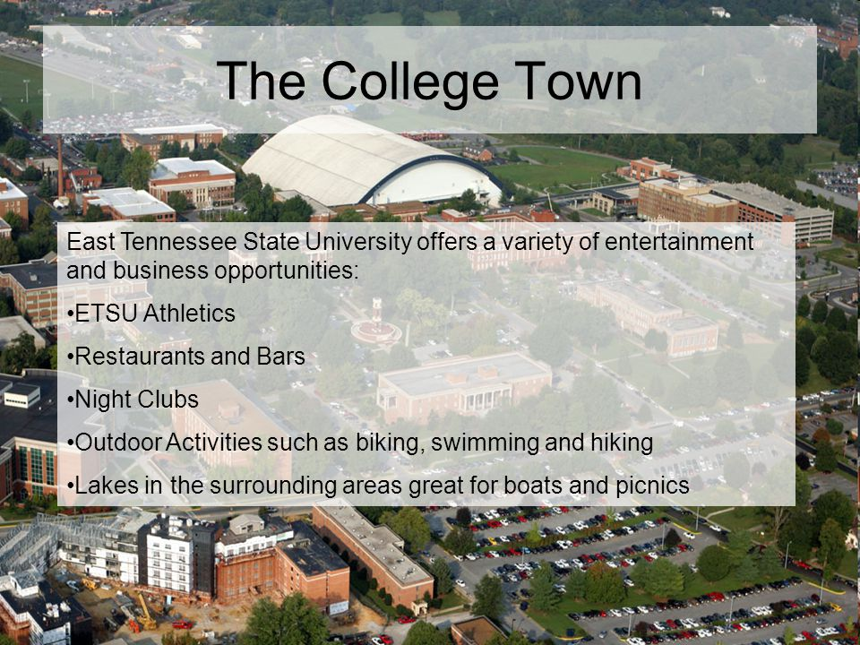 The College Town East Tennessee State University offers a variety of entertainment and business opportunities: ETSU Athletics Restaurants and Bars Nig