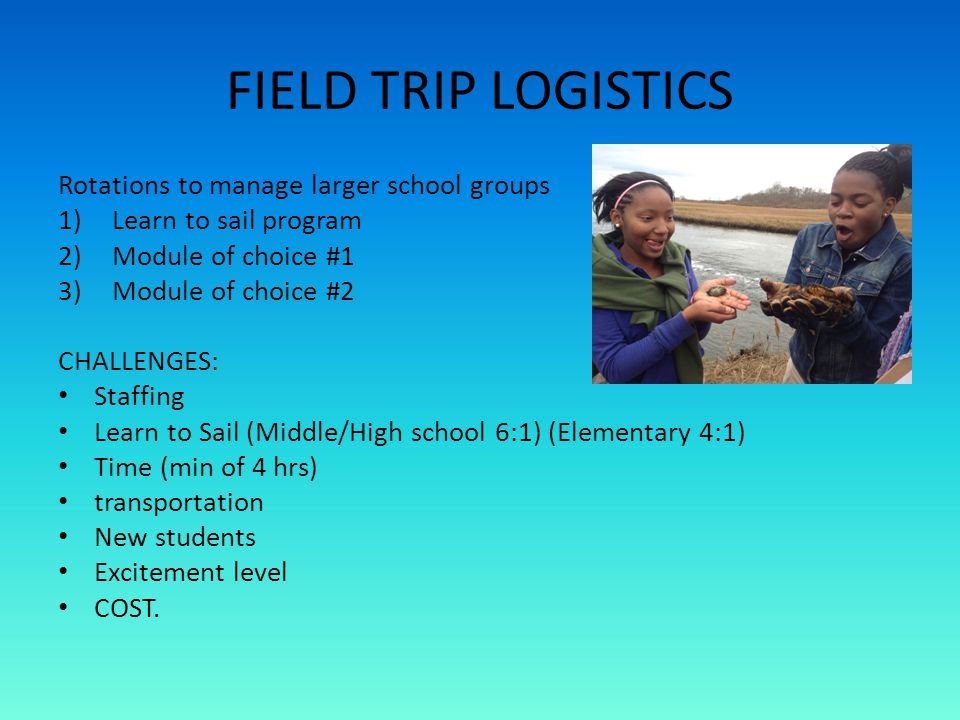 FIELD TRIP LOGISTICS Rotations to manage larger school groups 1)Learn to sail program 2)Module of choice #1 3)Module of choice #2 CHALLENGES: Staffing Learn to Sail (Middle/High school 6:1) (Elementary 4:1) Time (min of 4 hrs) transportation New students Excitement level COST.