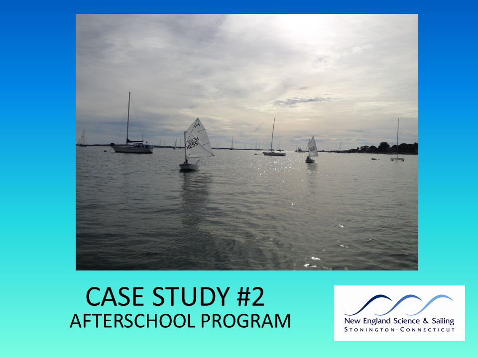 AFTERSCHOOL PROGRAM LOGISTICS Learn to sail program enriched by REACH modules 1)4 days learn to sail 2)1 module theme (30 minutes/day) CHALLENGES: Time (1.5 hrs) Short season Competition with other afterschool programs (sports, clubs)
