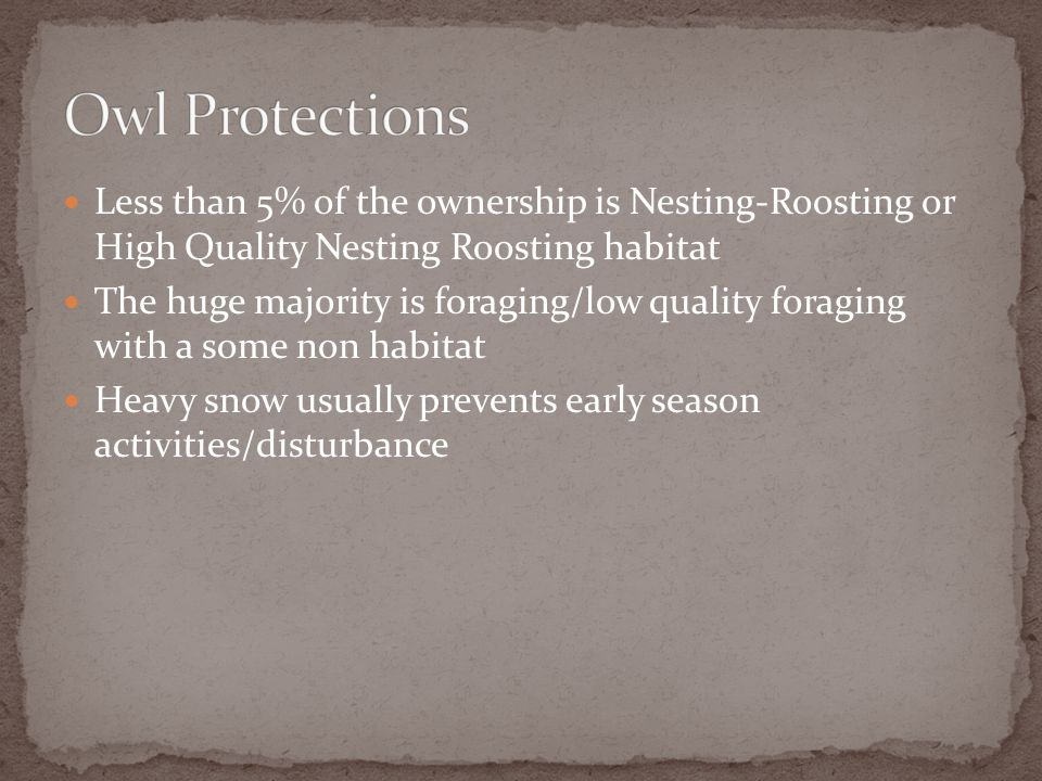 Less than 5% of the ownership is Nesting-Roosting or High Quality Nesting Roosting habitat The huge majority is foraging/low quality foraging with a some non habitat Heavy snow usually prevents early season activities/disturbance