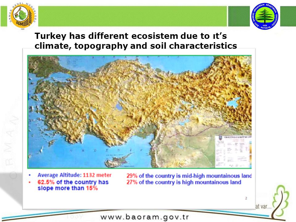 Turkey has different ecosistem due to ıts climate, topography and soil characteristics