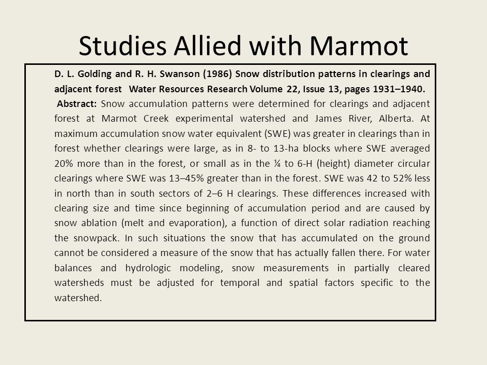 Studies Allied with Marmot D. L. Golding and R. H.