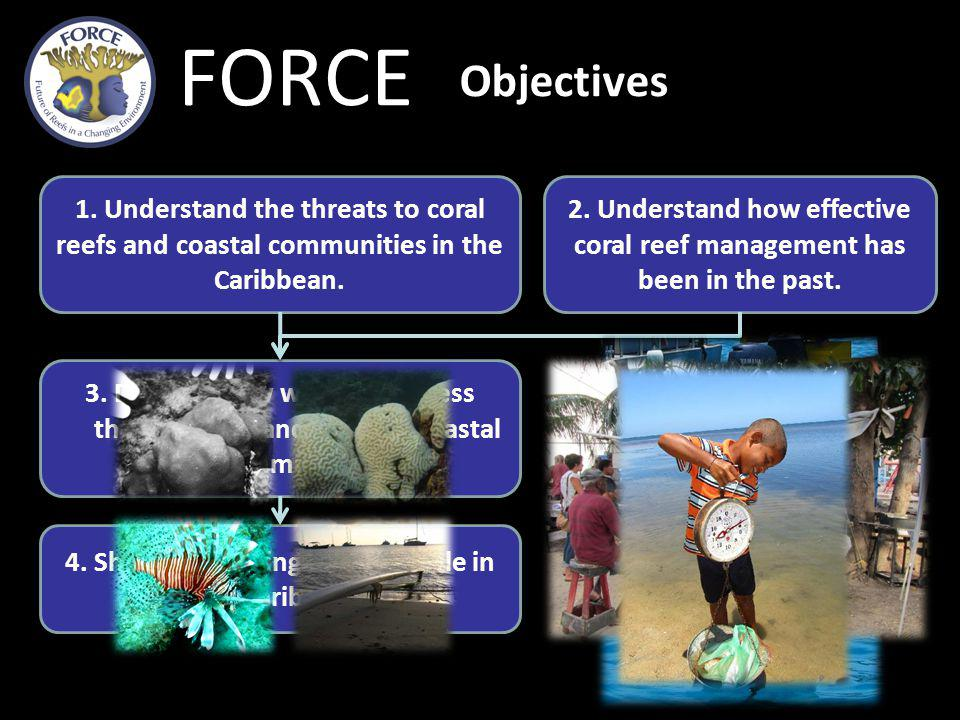 FORCE Objectives 1.Understand the threats to coral reefs and coastal communities in the Caribbean.