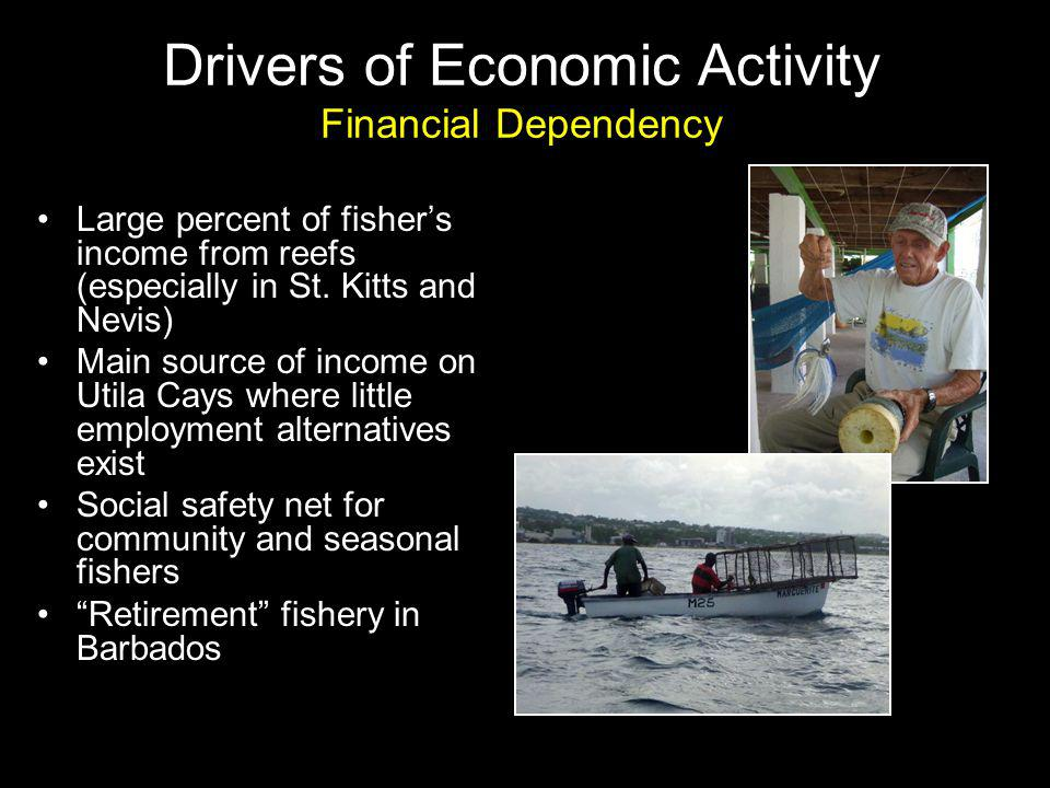 Large percent of fishers income from reefs (especially in St.