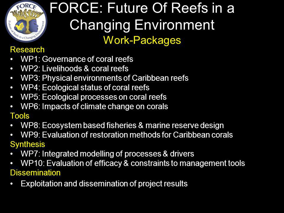 Research WP1: Governance of coral reefs WP2: Livelihoods & coral reefs WP3: Physical environments of Caribbean reefs WP4: Ecological status of coral reefs WP5: Ecological processes on coral reefs WP6: Impacts of climate change on corals Tools WP8: Ecosystem based fisheries & marine reserve design WP9: Evaluation of restoration methods for Caribbean corals Synthesis WP7: Integrated modelling of processes & drivers WP10: Evaluation of efficacy & constraints to management tools Dissemination Exploitation and dissemination of project results FORCE: Future Of Reefs in a Changing Environment Work-Packages