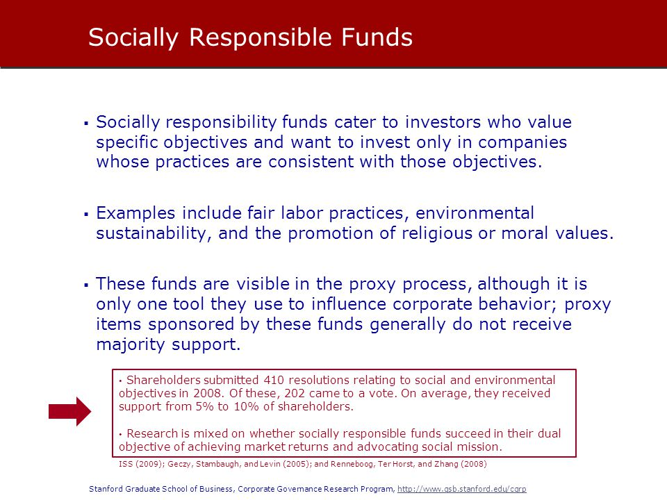 Stanford Graduate School of Business, Corporate Governance Research Program, http://www.gsb.stanford.edu/cgrphttp://www.gsb.stanford.edu/cgrp Socially