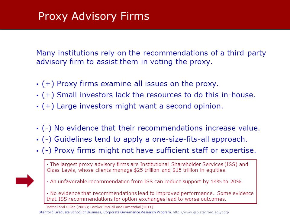 Stanford Graduate School of Business, Corporate Governance Research Program, http://www.gsb.stanford.edu/cgrphttp://www.gsb.stanford.edu/cgrp Many ins
