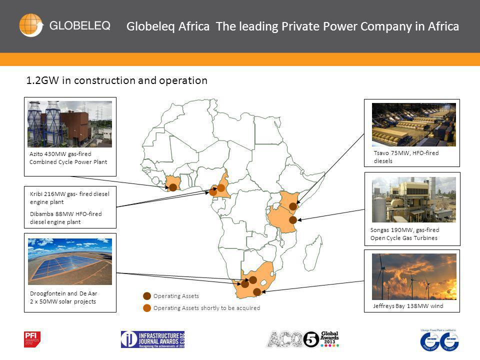 Operating Assets Songas 190MW, gas-fired Open Cycle Gas Turbines Azito 430MW gas-fired Combined Cycle Power Plant Tsavo 75MW, HFO-fired diesels Droogfontein and De Aar 2 x 50MW solar projects Jeffreys Bay 138MW wind Operating Assets shortly to be acquired Kribi 216MW gas- fired diesel engine plant Dibamba 88MW HFO-fired diesel engine plant 1.2GW in construction and operation Globeleq Africa The leading Private Power Company in Africa