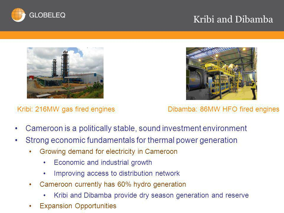 Kribi and Dibamba Dibamba: 86MW HFO fired engines Cameroon is a politically stable, sound investment environment Strong economic fundamentals for thermal power generation Growing demand for electricity in Cameroon Economic and industrial growth Improving access to distribution network Cameroon currently has 60% hydro generation Kribi and Dibamba provide dry season generation and reserve Expansion Opportunities Kribi: 216MW gas fired engines
