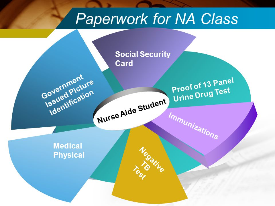 Paperwork for NA Class Negative TB Test Nurse Aide Student Proof of 13 Panel Urine Drug Test Social Security Card Government Issued Picture Identifica