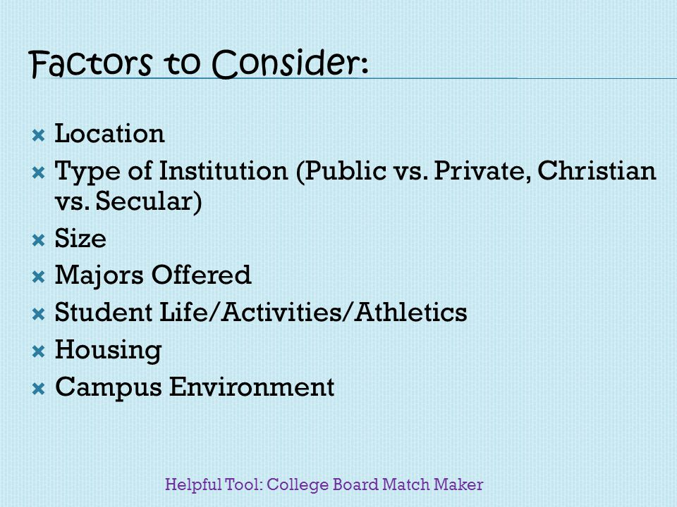 Factors to Consider: Location Type of Institution (Public vs. Private, Christian vs. Secular) Size Majors Offered Student Life/Activities/Athletics Ho
