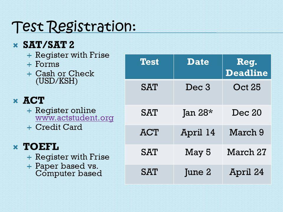 Final Year Testing Timeline: ACT: October SAT: October/November SAT II Subject: November/December ACT (retake): April AP: May