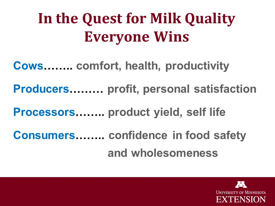 In the Quest for Milk Quality Everyone Wins Cows…….. comfort, health, productivity Producers……… profit, personal satisfaction Processors…….. product y