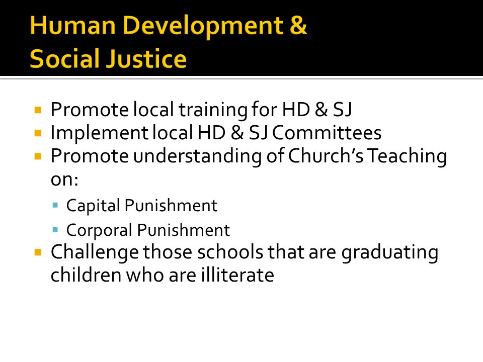 Promote local training for HD & SJ Implement local HD & SJ Committees Promote understanding of Churchs Teaching on: Capital Punishment Corporal Punishment Challenge those schools that are graduating children who are illiterate
