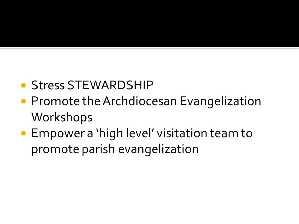 Stress STEWARDSHIP Promote the Archdiocesan Evangelization Workshops Empower a high level visitation team to promote parish evangelization