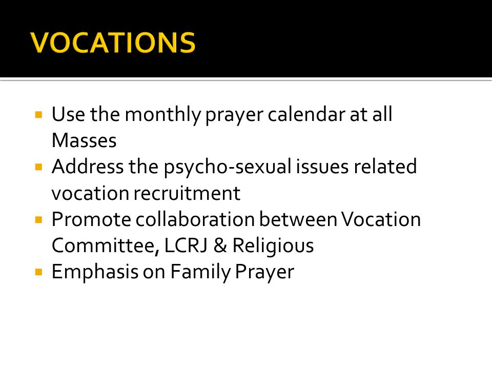 Use the monthly prayer calendar at all Masses Address the psycho-sexual issues related vocation recruitment Promote collaboration between Vocation Committee, LCRJ & Religious Emphasis on Family Prayer