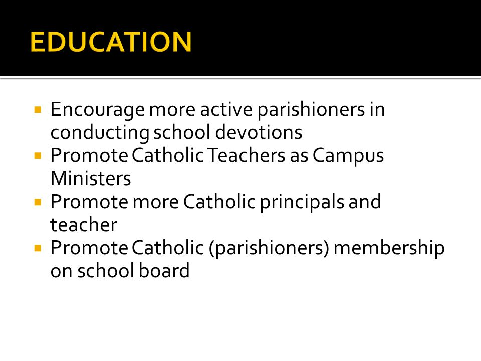 Continue to offer scholarships to rising Catholic principals and teachers Need to investigate BONDING those sponsored Need to have a CEO to CEO under- standing of our Catholic/Denominational Schools (Archbishop to MOE)