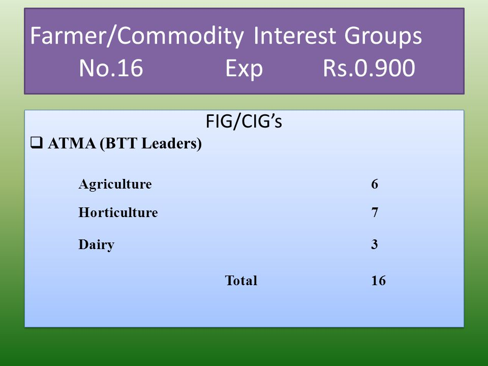 Farmer/Commodity Interest Groups No.16ExpRs.0.900 FIG/CIGs ATMA (BTT Leaders) Agriculture6 Horticulture7 Dairy3 Total16 FIG/CIGs ATMA (BTT Leaders) Ag