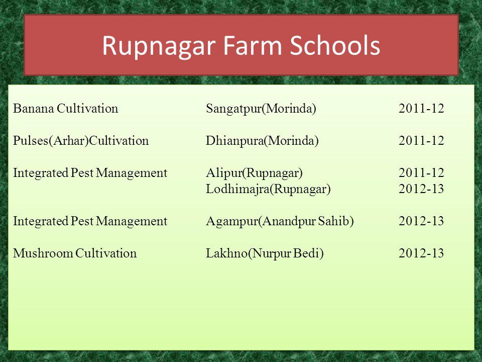 Rupnagar Farm Schools Banana CultivationSangatpur(Morinda)2011-12 Pulses(Arhar)CultivationDhianpura(Morinda)2011-12 Integrated Pest ManagementAlipur(R