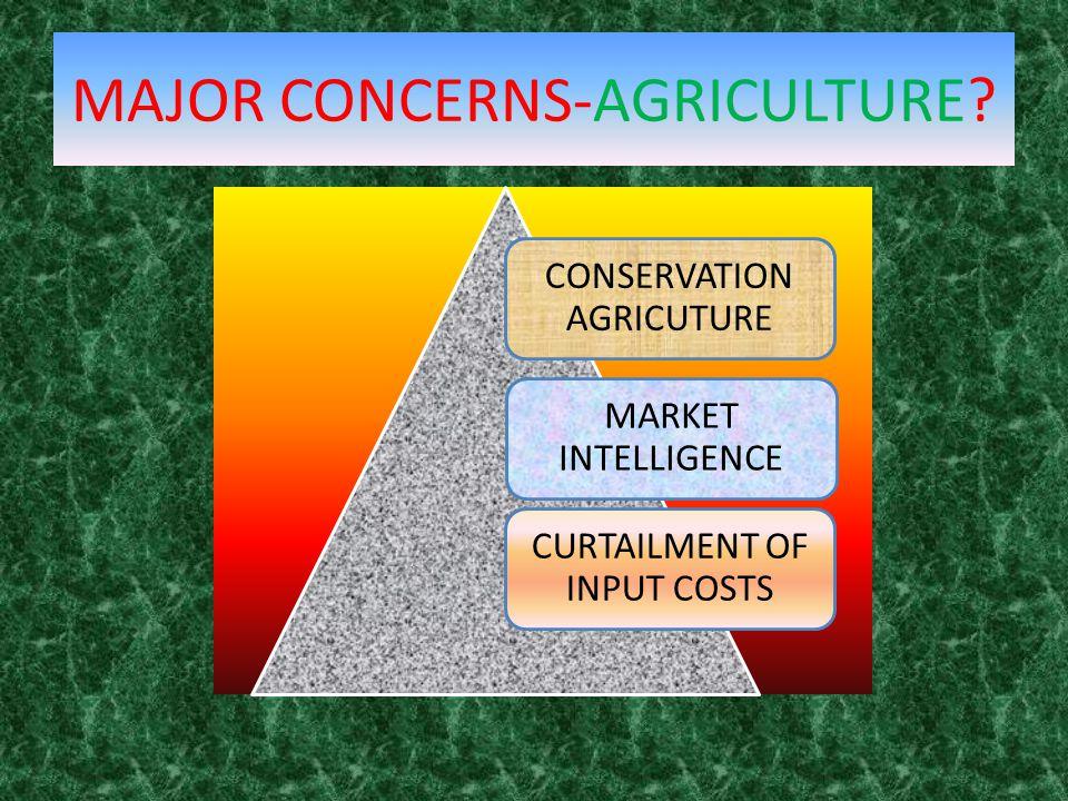 MAJOR CONCERNS-AGRICULTURE? CONSERVATION AGRICUTURE MARKET INTELLIGENCE CURTAILMENT OF INPUT COSTS