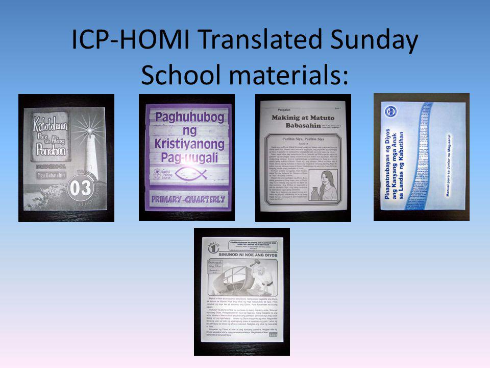 ICP-HOMI Translated Sunday School materials: