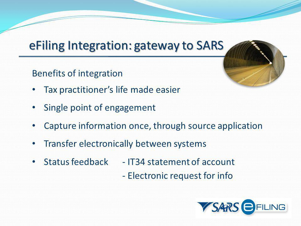 eFiling Integration: gateway to SARS Benefits of integration Tax practitioners life made easier Single point of engagement Capture information once, t