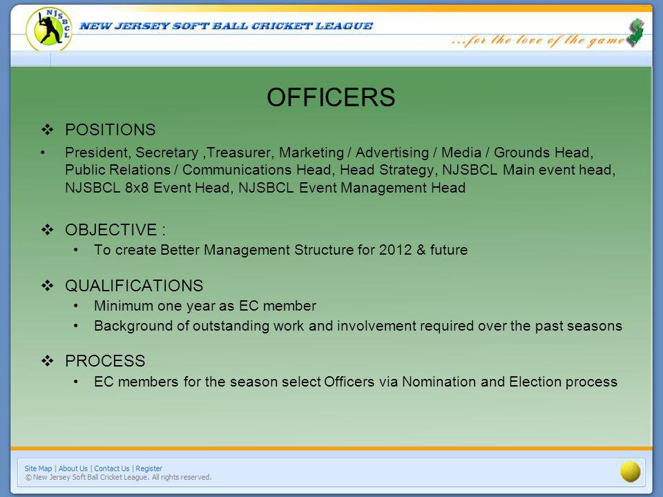 OFFICERS POSITIONS President, Secretary,Treasurer, Marketing / Advertising / Media / Grounds Head, Public Relations / Communications Head, Head Strategy, NJSBCL Main event head, NJSBCL 8x8 Event Head, NJSBCL Event Management Head OBJECTIVE : To create Better Management Structure for 2012 & future QUALIFICATIONS Minimum one year as EC member Background of outstanding work and involvement required over the past seasons PROCESS EC members for the season select Officers via Nomination and Election process