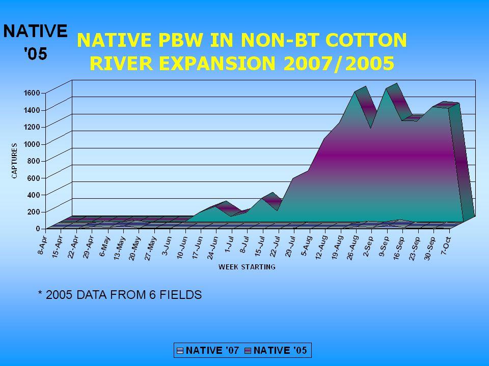 * 2005 DATA FROM 6 FIELDS