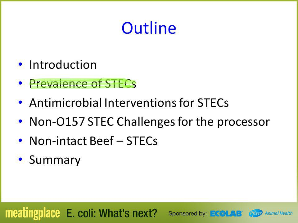 Outline Introduction Prevalence of STECs Antimicrobial Interventions for STECs Non-O157 STEC Challenges for the processor Non-intact Beef – STECs Summ