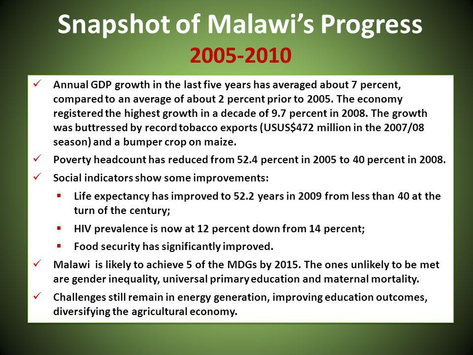 Snapshot of Malawis Progress 2005-2010 Annual GDP growth in the last five years has averaged about 7 percent, compared to an average of about 2 percent prior to 2005.